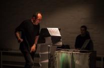 """24/04/2013  Otvorenje izložbe grafičkih partitura i šahtofona DB Indoša i izvedba """"ni svi kraljevi ljudi…"""" (šahtofonija)@ Galerija SC"""