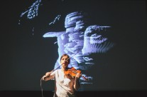 Barbara Lüneburg: Weapon of Choice – a multimedia event for violin, sound and video, photo by Kristijan Smok